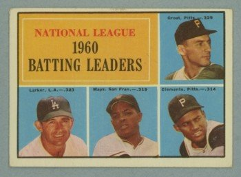 1961 Topps NL Batting Leaders # 41 MAYS CLEMENTE HOF EX