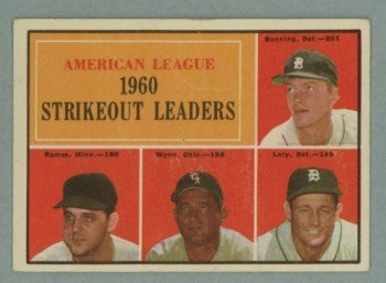 1961 Topps AL Strikeout Leaders # 50 BUNNING -- WYNN HOF