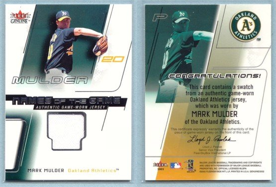 2002 Fleer Genuine Names of the Game Memorabilia # 13 MARK MULDER GU Jersey