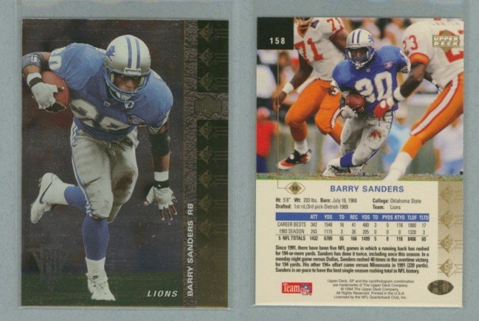 1994 SP # 158 BARRY SANDERS -- MINT