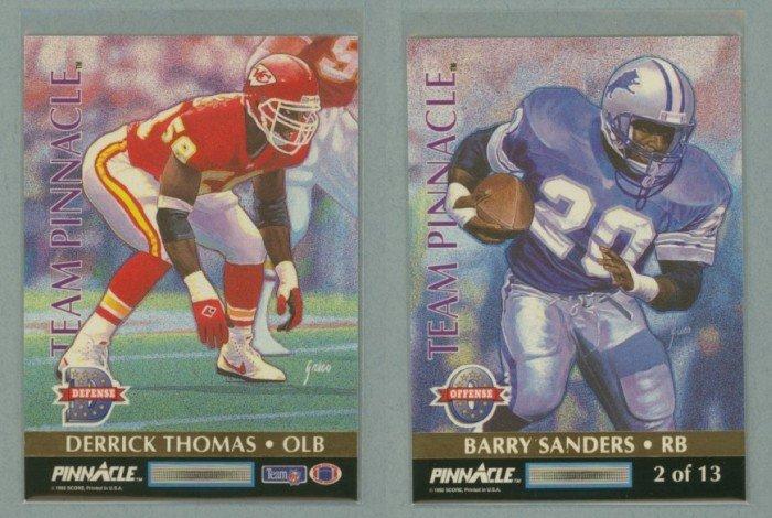 1992 Pinnacle Team Pinnacle # 2 BARRY SANDERS and DERRICK THOMAS -- MINT