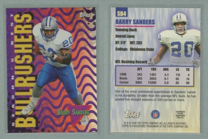 1999 Topps Season's Best # SB4 BARRY SANDERS