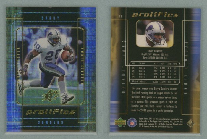 1999 SPx Prolifics # P2 BARRY SANDERS