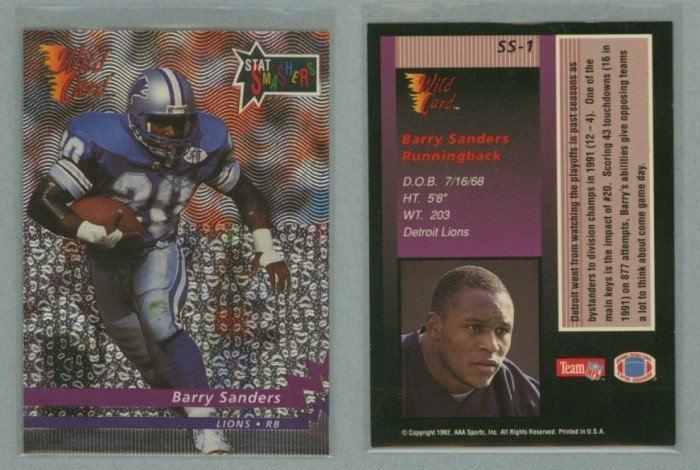 1992 Wild Card Stat Smashers # SS-1 BARRY SANDERS