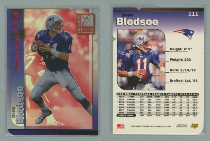 1999 Donruss Elite Aspirations # 111 Die Cut DREW BLEDSOE #d 77 of 89 -- MINT
