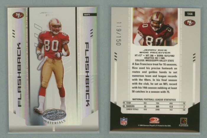 2004 Leaf Certified Materials Mirror White # 144 JERRY RICE #d 119 of 150 -- MINT