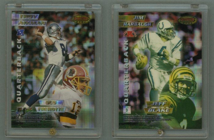 1996 Bowman's Best Mirror Images Atomic Refractors # 3 AIKMAN, FREROTIE, HARBAUGH, BLAKE - MINT