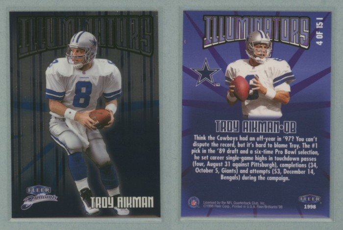 1998 Fleer Brilliants Illuminators # 4 TROY AIKMAN
