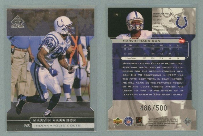 1998 SP Authentic Die Cuts # 75 MARVIN HARRISON #d 486 of 500 -- MINT
