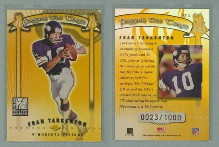 2001 Donruss Elite Passing the Torch # PT5 FRAN TARKENTON #d 0023 of 1000 -- MINT