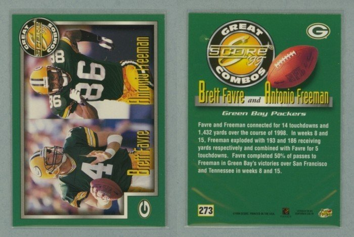 1999 Score Great Combos # 273 BRETT FAVRE and ANTONIO FREEMAN -- MINT