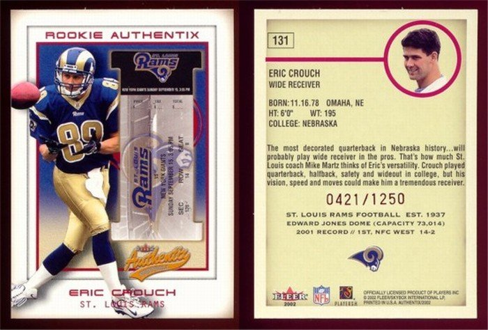 2002 Fleer Rookie Authentix # 131 ERIC CROUCH RC #d 0421 of 1250 -- MINT