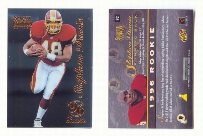 1996 Select Certified # 92 STEPHEN DAVIS RC Redskins, Panthers