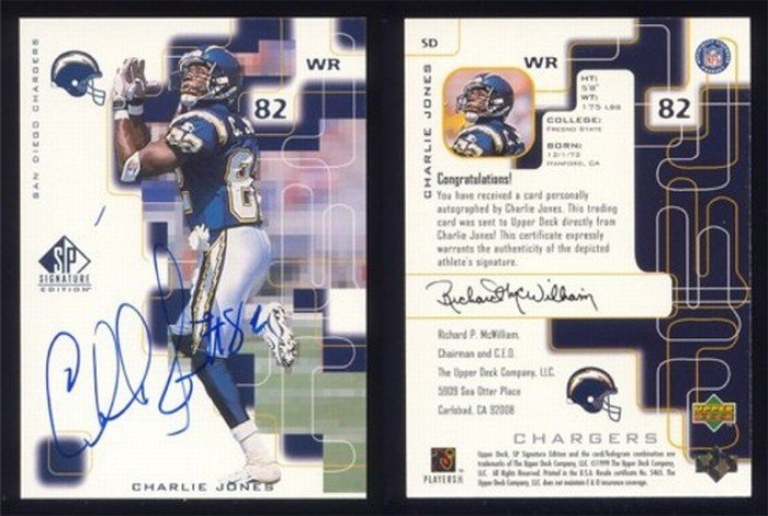 1999 SP Signature Edition Auto # SD CHARLIE JONES Chargers -- MINT