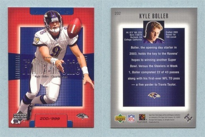2003 Upper Deck Finite # 202 KYLE BOLLER RC #d 200 of 999 Ravens Rookie MINT