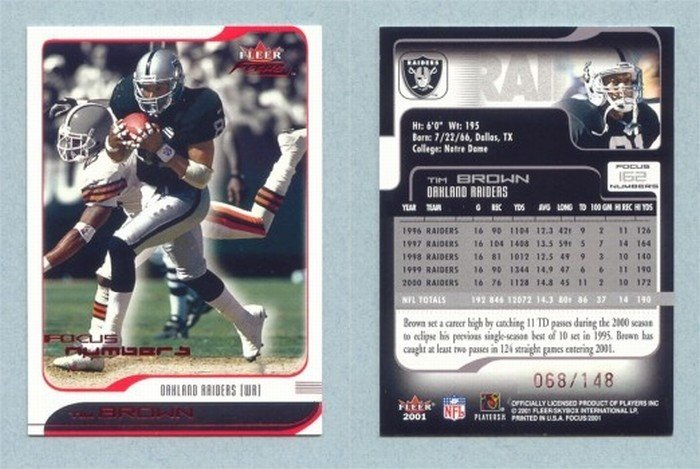 2001 Fleer Focus # 162 TIM BROWN #d 068 of 148 Raiders