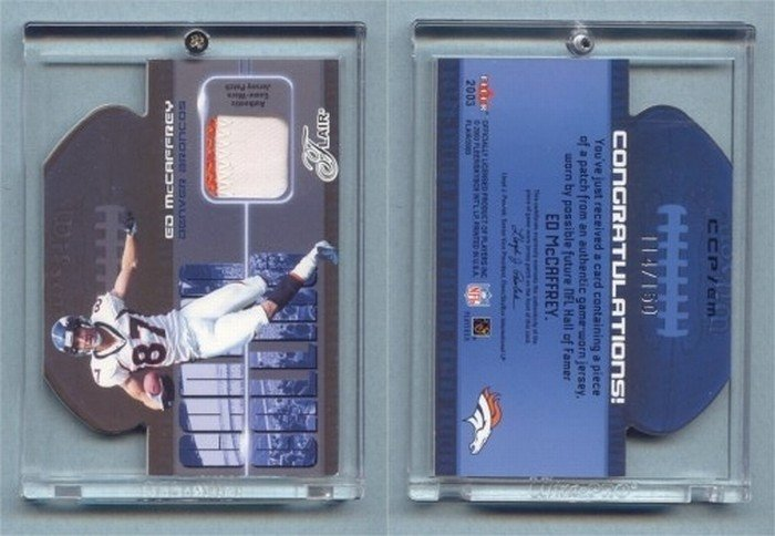 2003 Flair Canton Calling Patches # CCP-EM ED McCAFFREY 2-color GU Patch #d 114 of 150 Broncos MINT