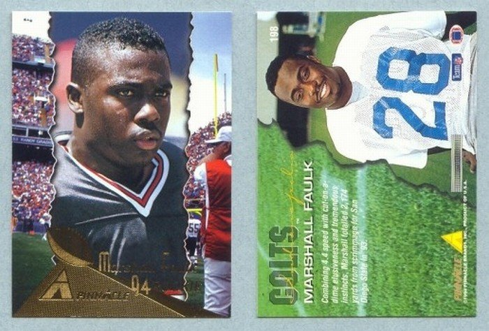 1994 Pinnacle # 198 MARSHALL FAULK RC Rams Rookie -- MINT