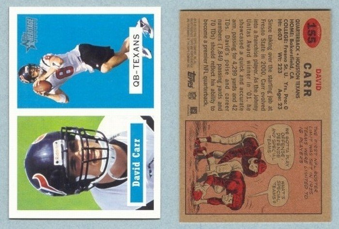 2002 Topps Heritage # 155 DAVID CARR RC Texans Rookie -- MINT