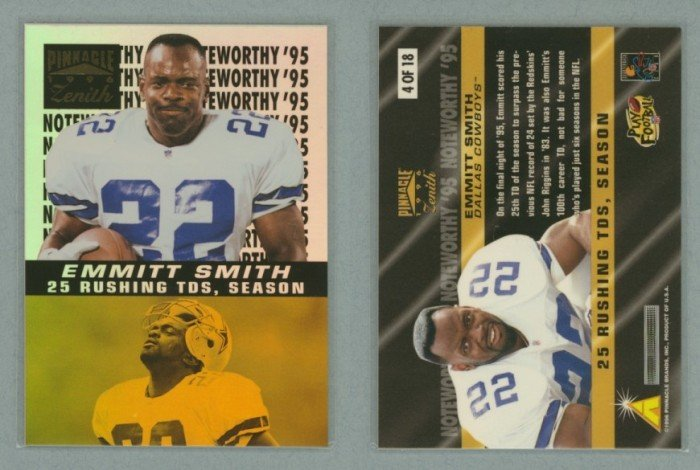 1996 Zenith Noteworthy 95 # 4 EMMITT SMITH -- MINT