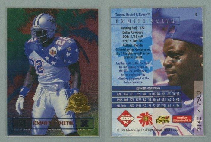 1996 Collector's Edge President's Reserve Tanned Rested Ready # 5 EMMITT SMITH #d 3142 of 7500