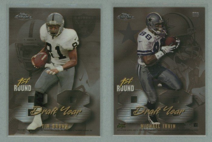 1997 Topps Chrome Draft Year # DR6 MICHAEL IRVIN and TIM BROWN -- MINT