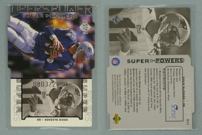 1998 Upper Deck Super Powers Die Cut Silver # S11 DREW BLEDSOE #d 0803 of 2000 -- MINT