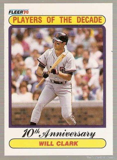 1990 Fleer Baseball Card #630 A Will Clark Error