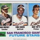 1982 Topps Baseball Card #171 Bob Brenly, Chili Davis, Bob Tufts RCs
