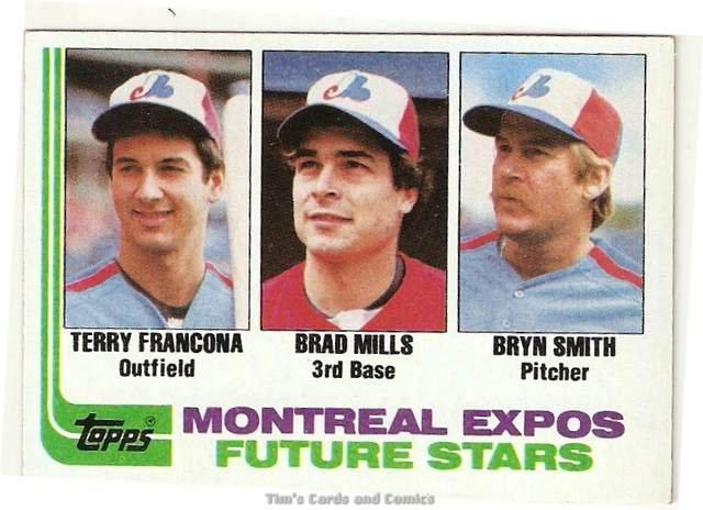 1982 Topps Baseball Card #118 Terry Francona, Brad Mills, Bryn Smith RCs NM