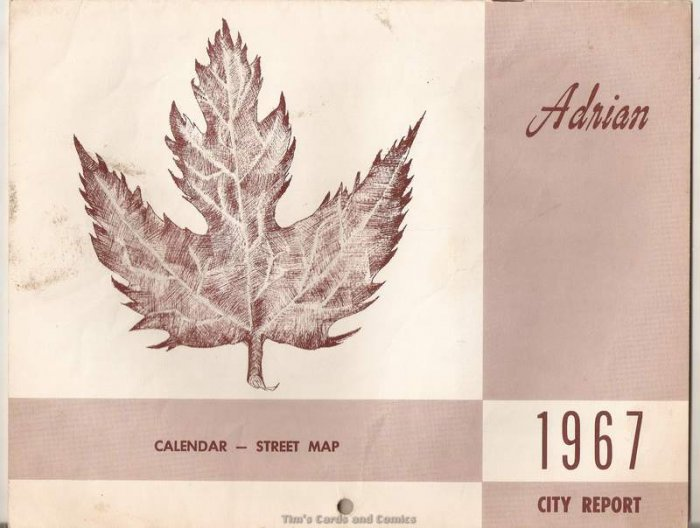 1967 Adrian Michigan Calendar Street Map City Report