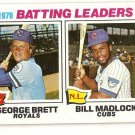 1977 Topps Baseball Card #1 1976 Batting Leaders George Brett Bill Madlock VG