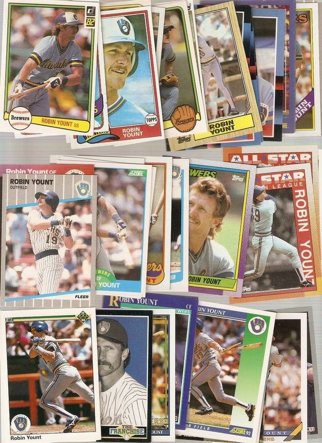 Lot of 40 Robin Yount Baseball Cards Brewers A