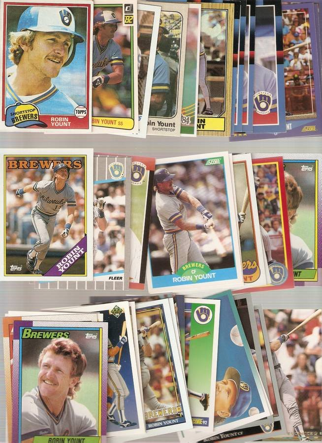 Lot of 40 Robin Yount Baseball Cards Brewers C