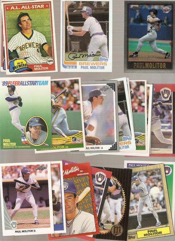 Lot of 50 Paul Molitor Baseball Cards Milwaukee Brewers