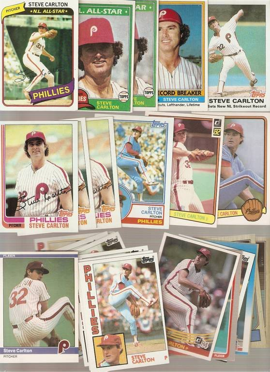 Lot of 27 Steve Carlton Baseball Cards Phillies White Sox A