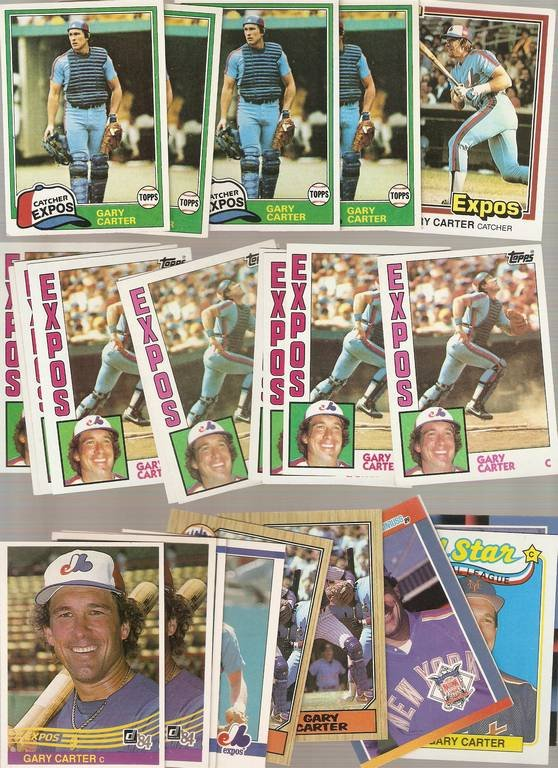 Lot of 25 Gary Carter Baseball Cards Expos Mets