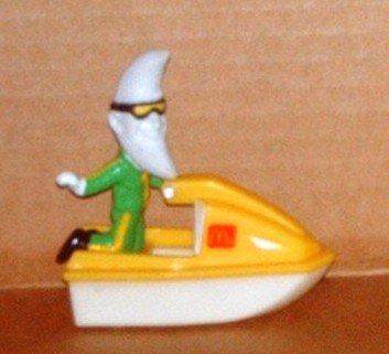 McDonalds 1988 Mac Tonight on Jet Ski with Wheels Happy Meal Toy