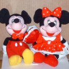 "Mickey and Minnie Mouse Valentine 8"" Bean Bag Dolls Walt Disney"