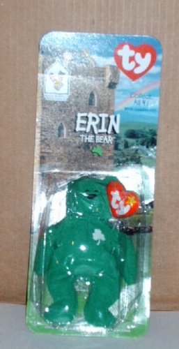 McDonalds Teenie Beanie Babies Erin the Bear in Package Happy Meal B