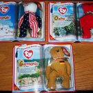 TY McDonald's Teenie Beanie Babies International Bear II Set of 3 Spangle Germania Osito