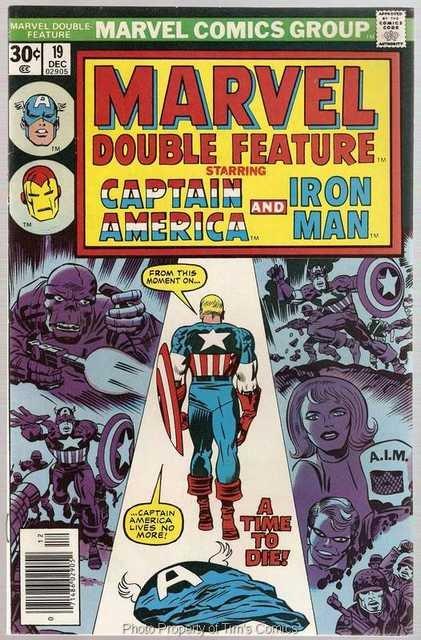 Marvel Double Feature (1973 series) #19 Captain America Iron Man Marvel Comics Dec. 1976 FN