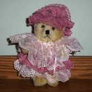"Collectible 8"" Teddy Bear with Pink and White Lace Dress and Hat Loose Used"