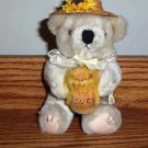 Plush Beige Teddy Bear with Wooden Honey Pot Pacific Coast Co.