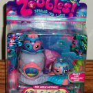 Zoobles Double Pack Obert #061 Jeremiah #062 Octopus & Whale w/ Happitat Toy New in Package