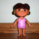 Fisher-Price Splash Around Dora Doll Pink Flowered Bathing Suit 2002 Used