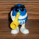 M&M Blue Playing Saxophone Candy Dispenser Burger King 1996  Loose Used