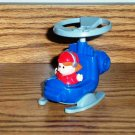 Fisher-Price McDonald's Little People Blue Helicopter w/ Red Boy 2004 Happy Meal Toy Mattel Loose
