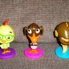 Kellogg&#39;s Chicken Little Bobblehead Toys 2005 Lot of 3 Loose Used