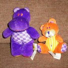 Dolly Inc. Mommy and Me Hippo Bear Finger Puppets Plush Toys Loose Used